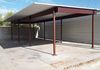 3 Space 4 post construction Carport and Steel Panel Privacy Wall