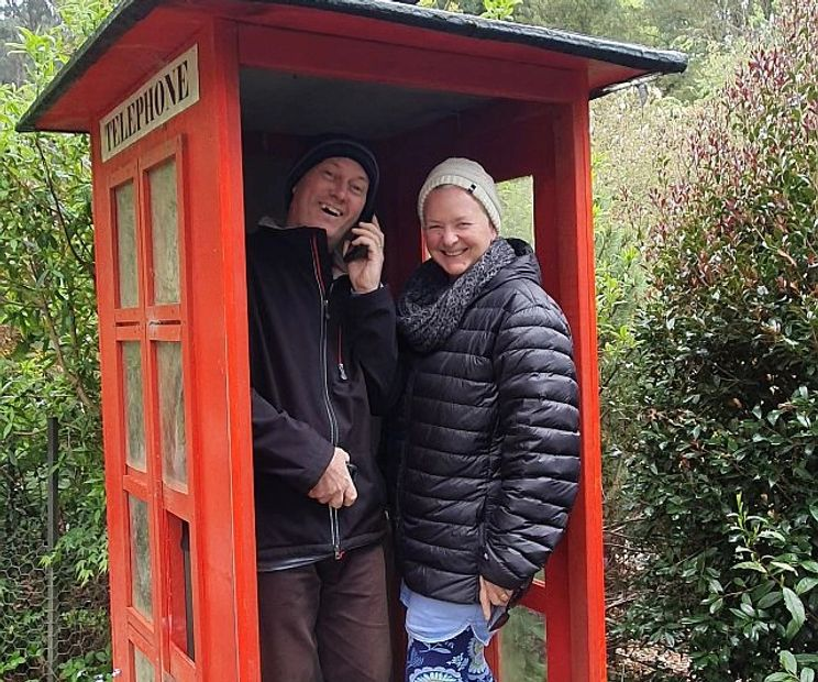 Neil and Deb in old telephone box