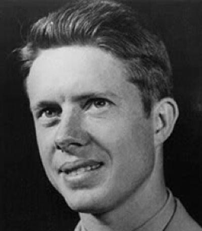 Portrait of a young Jimmy Carter, in black and white against a dark background.
