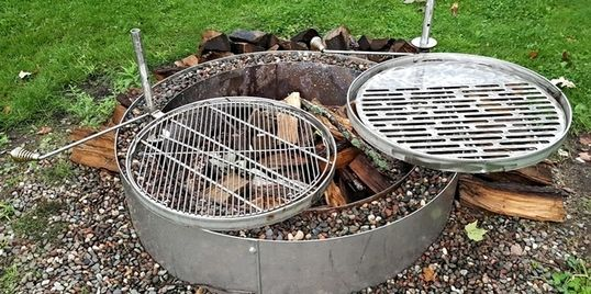 "alt="" fire pit bbq cooking grill Higley welding"""