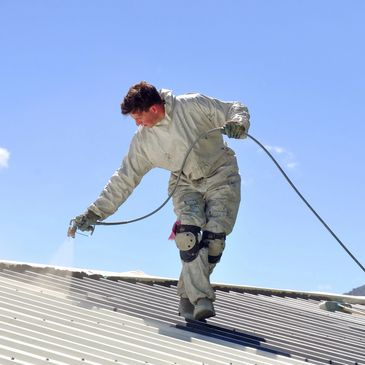Roof Painting with Airless Spray in Pretoria Concrete slab roofs, Corrugated iron and IBR roofs Tile