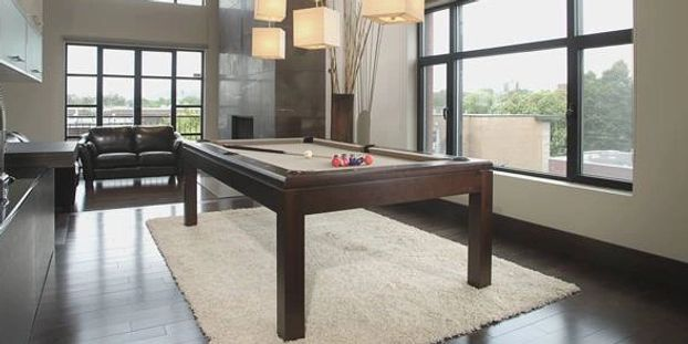 2 in 1 table, constructed of solid white birch. La condo is the ideal unit for the recreation room,
