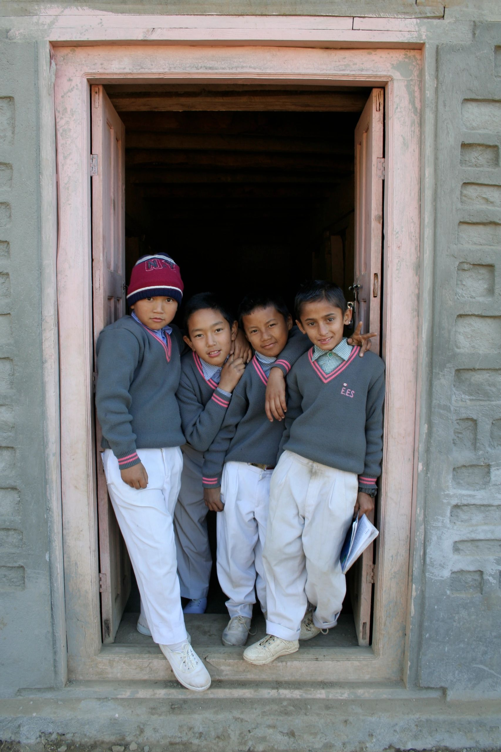 Students of the Everest English School in Sanitar, Nepal pose for a photo at the end of the day.