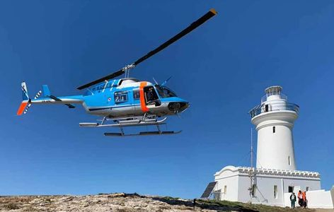 Helicopter arrival at South Solitary Island, Coffs Harbour, New South Wales, Australia