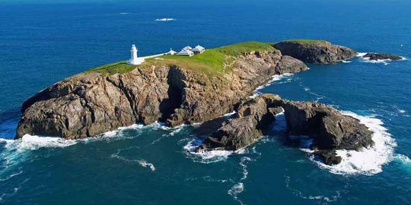 Fly over South Solitary Island, Lighthouse, keepers quarters, Coffs Harbour New South Wales