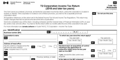 T2 Corporate Income Tax Return blank form