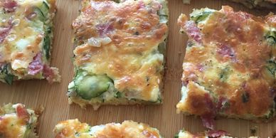 Mini strata  with cheese and vegetables