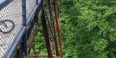 Old rail road trestle bridge on the Tunnel Hill trail.