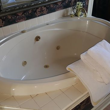 Large, Whirlpool style tub in every room.