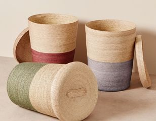 sustainable products, ethically sourced baskets, hamper, hamper with lid, natural fiber