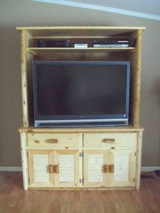 Log Cedar TV Stand Entertainment Center Living Room Rustic Furniture