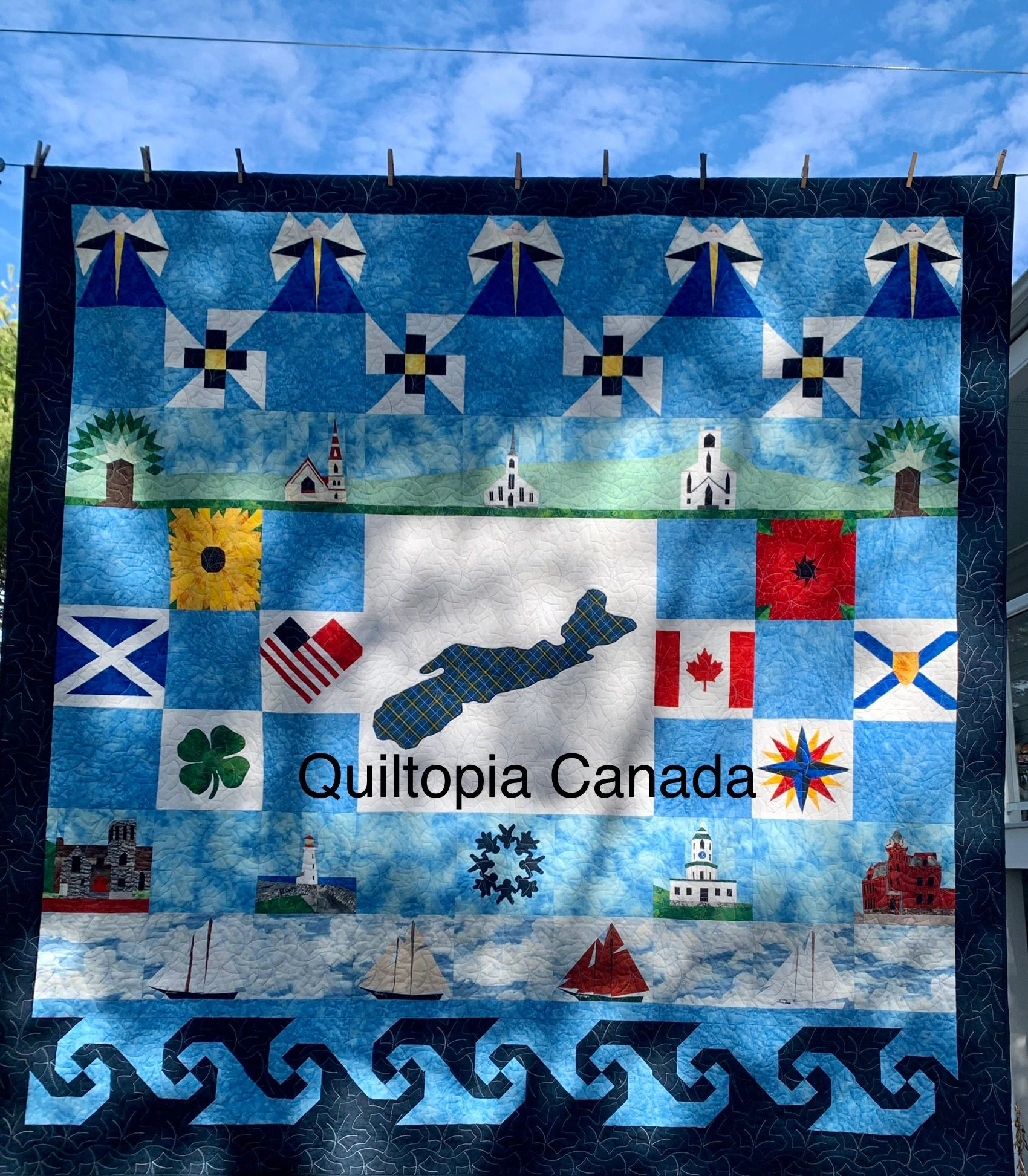 Custom Quilt Design Bluenose Town Clock Peggys Cove Mahone Bay Churches Family Faith Heritage Story