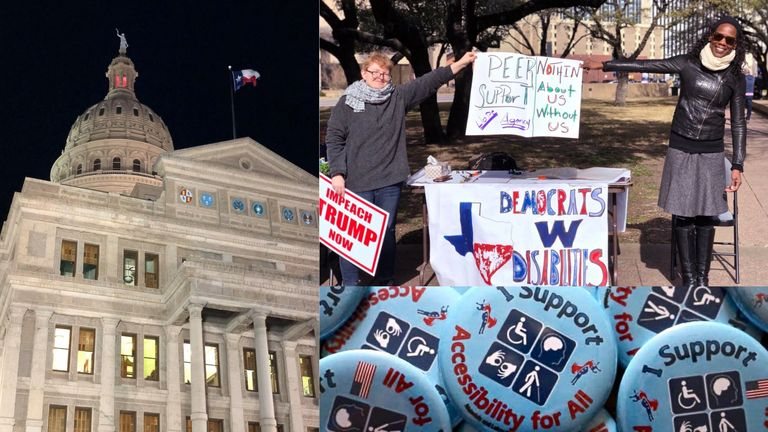 Collage of 3 photos: the texas capitol building at night, photo of TXDWD President and caucus member