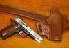 Matchin carry belt and holster with fish scale tooling. Color: Saddle Tan