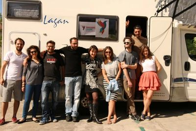 Activists of Transeuropa caravans travelling ahead of the European elections 2014
