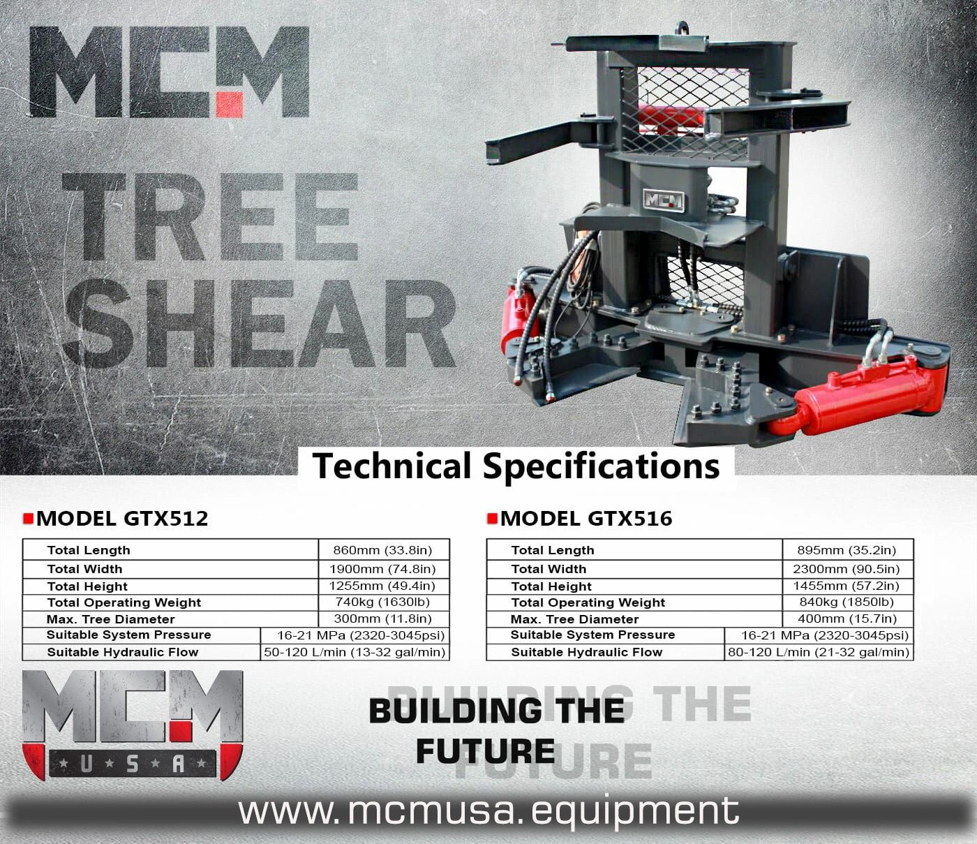 "MCM GTX516 Heavy Duty Tree Shear, 5"" cylinders cut through up to 16"" trees in a single cut"