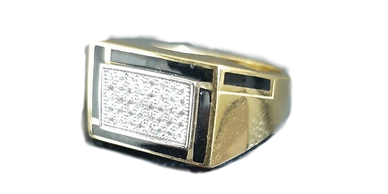 Squared ring with diamond accents