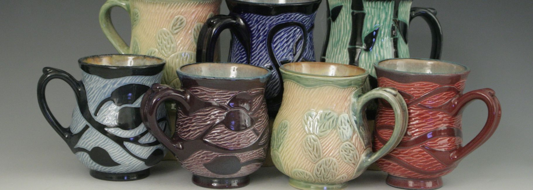 Sgraffito mugs by Lisa Harnish