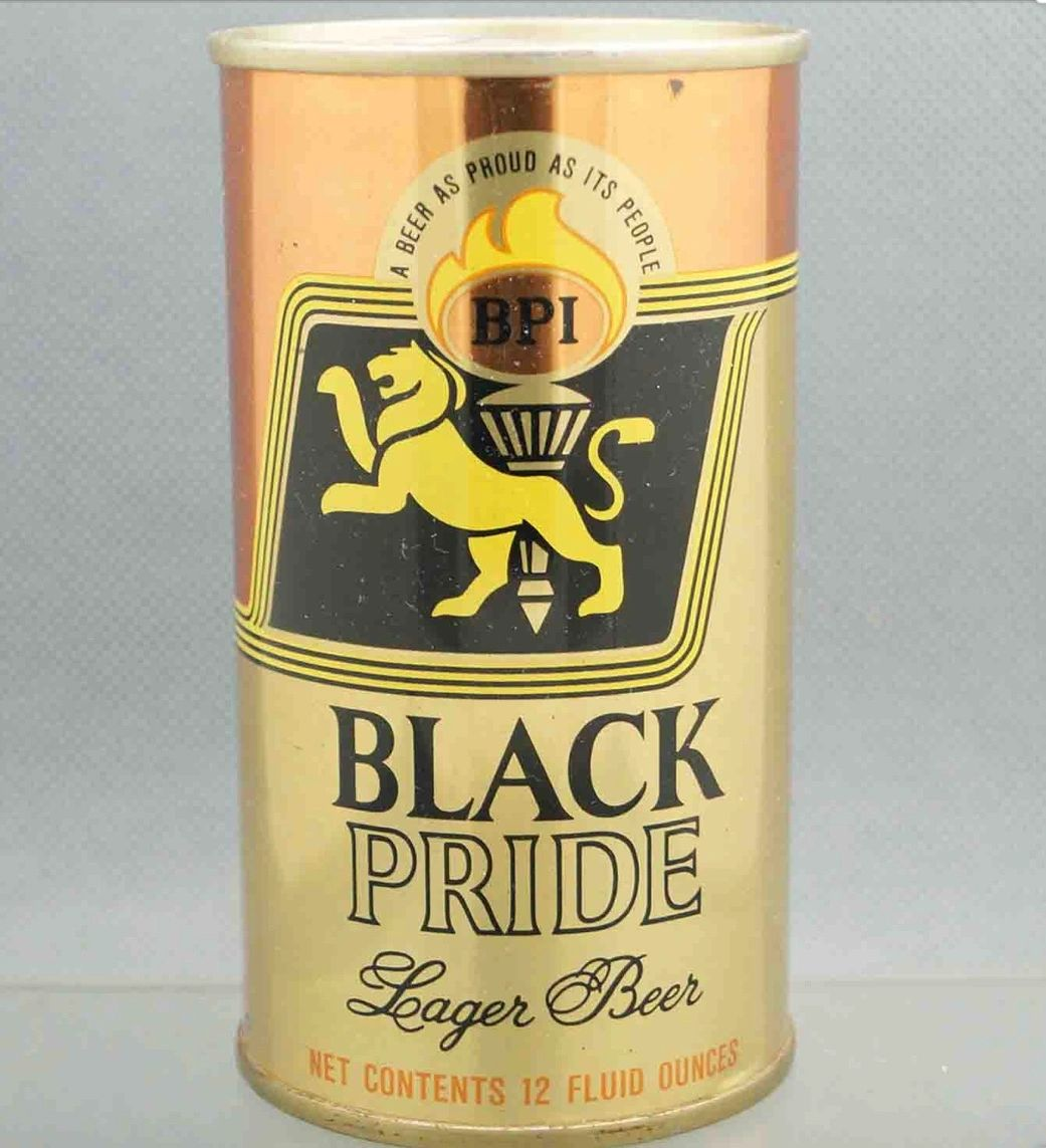 Black Pride Beer can product of first Black owned distributor Black Pride Inc, Chicago (1969).