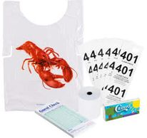 Guest checks, Credit card & register receipt paper roll. crayon, thermal roll, plastic bib, ribbon,