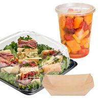 Deli container, paper trays, plastic cup and lid, portion cup