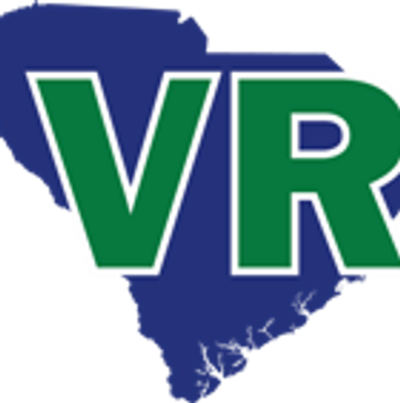 SCVRD logo. blue shape of sc with VR in green outlined in white