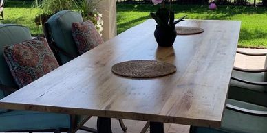 Outdoor finishes available for items such as benches, tables & mantles.