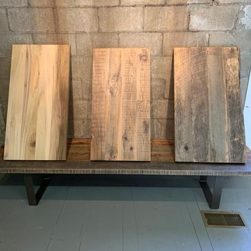 Premium finished rustic vintage oak tabletops. Shou Sugi Ban torched wood, raw supply as-is