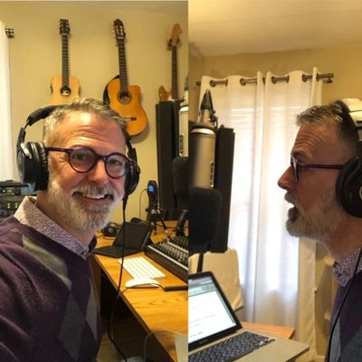 Darin Hollingsworth in the recording studio for the relaunch of Working Gratitude podcast.