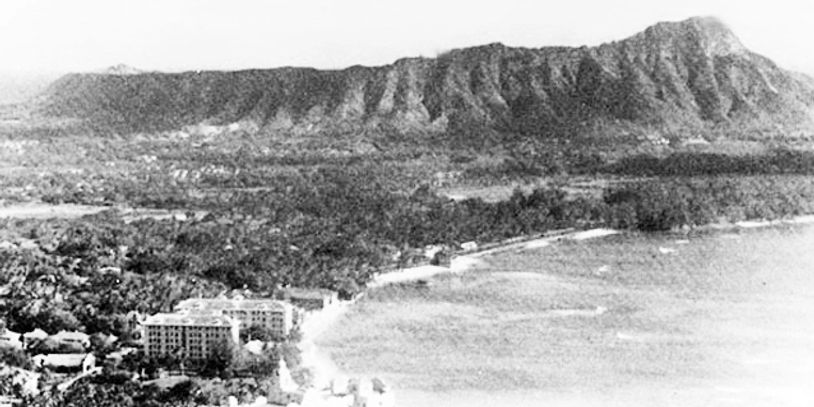 A classic image of Diamond Head In honolulu, Hawai`i...about 100 years ago...