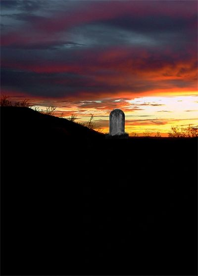 A tombstone at sunset in Tucson, Arizona