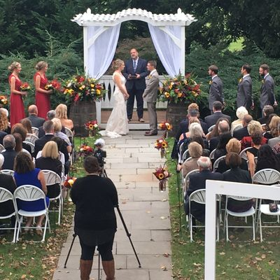 A beautiful outdoor wedding ceremony from The Barn at Boone's Dam in Bloomsburg, PA