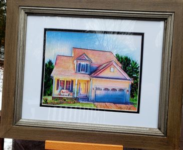 house drawing,  realtor gift, housewarming present, home portrait