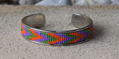 seed beads, handmade jewellery jewelry silver cuff with orange, purple and green