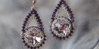 hanging crystal rivoli earrings seed beads findings rose gold hand made jewellery jewelry in purple