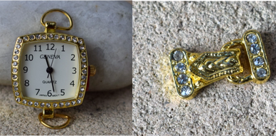 watches, handmade jewellery jewelry, gold, gold watch on a rock, gold clasp with diamontes