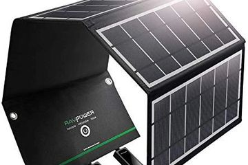 RAVPower UK RP-PC005(B) Solar Charger 24W Solar Panel with Triple USB Ports Waterproof Foldable