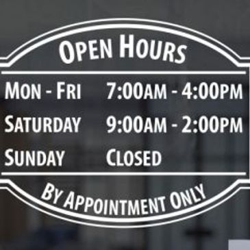 window graphic business boise ID idaho meridian open hours hour stickerstatus status decal sticker