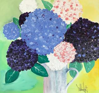 Hydrangea floral acrylic painting on canvas. Wall Art. Home Decor. blue flowers original art
