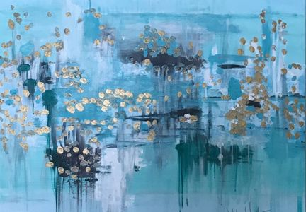 Large acrylic on canvas original abstract  painting. wall art home design tranquil blues and gold