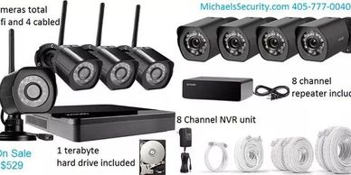 Our 8 channel NVR digital combo system with 4 wifi waterproof cameras and 4 waterproof cabled camera
