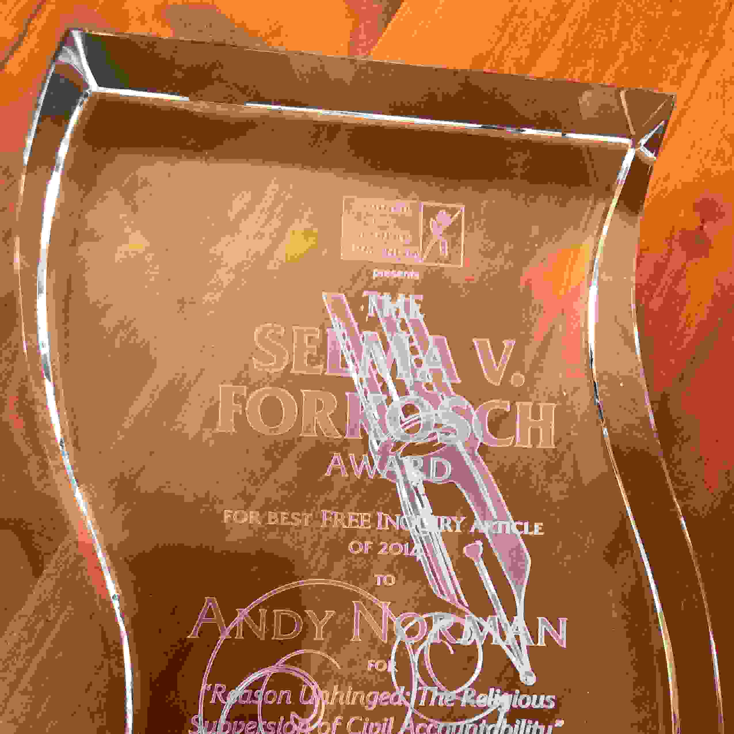 Image of the Selma V. Forkosch Award for Best Free Inquiry Article, awarded to Andy Norman.