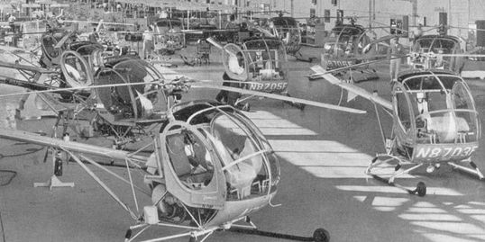A Hughes 269 production line in Culver City.