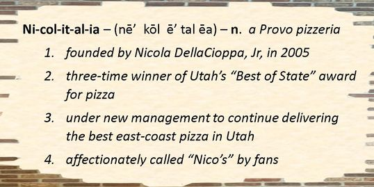Nicolitalia Pizza - the best in Utah County!