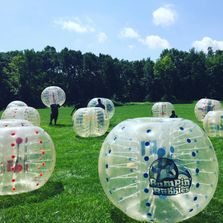 bubble soccer field. bubble soccer game being played and bubble soccer rentals in Michigan