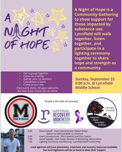 A NIGHT OF HOPE IN LYNNFIELD SEPTEMBER 22, 2019 AT 6 PM