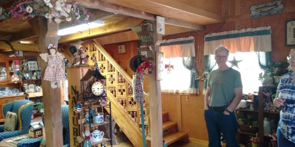 An Antique stair case that leads to the real Hayloft where we serve you a full country breakfast.