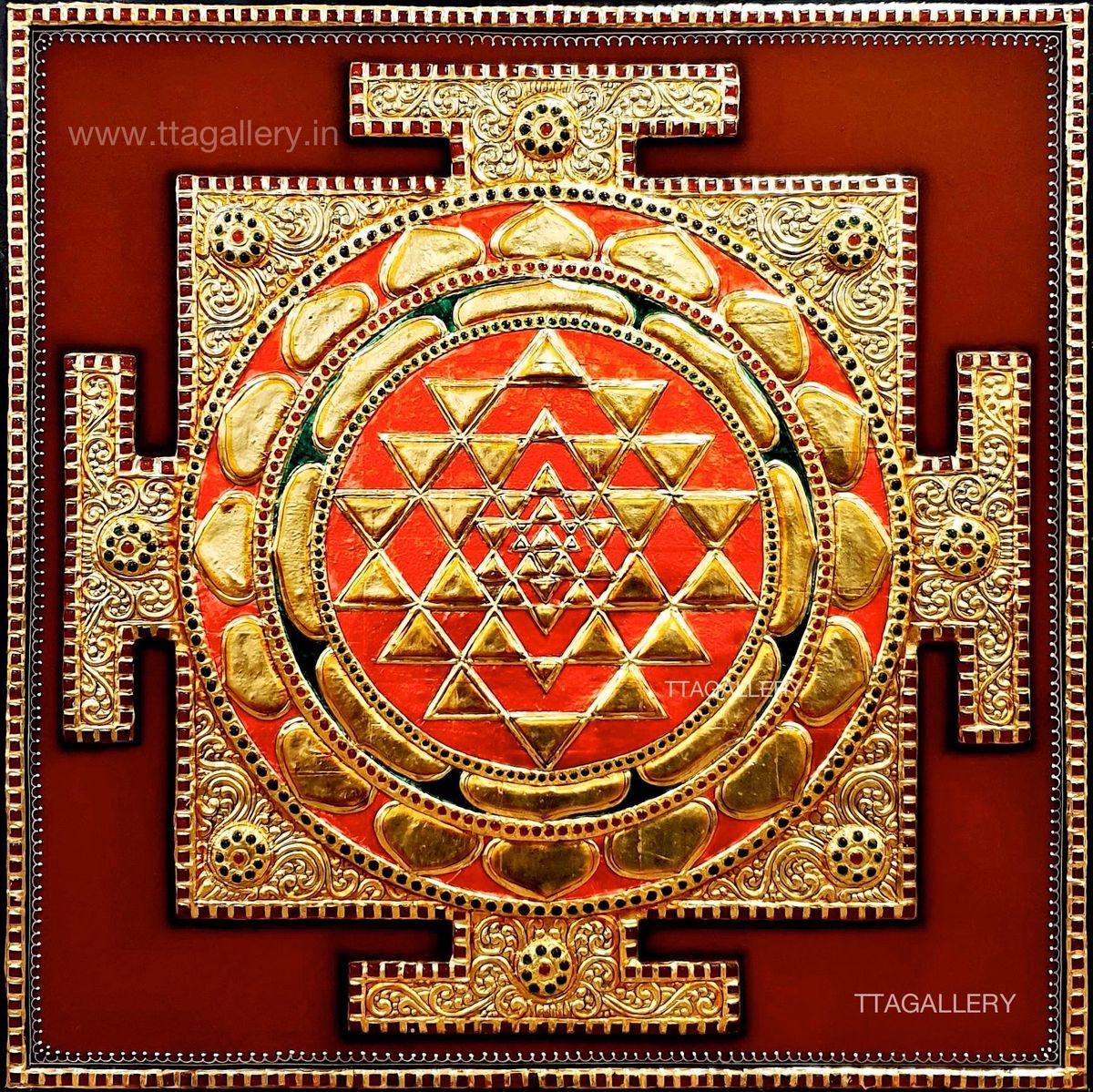 Sri Yantra Shri Chakra Antique Finish Semi Embossed Tanjore Painting