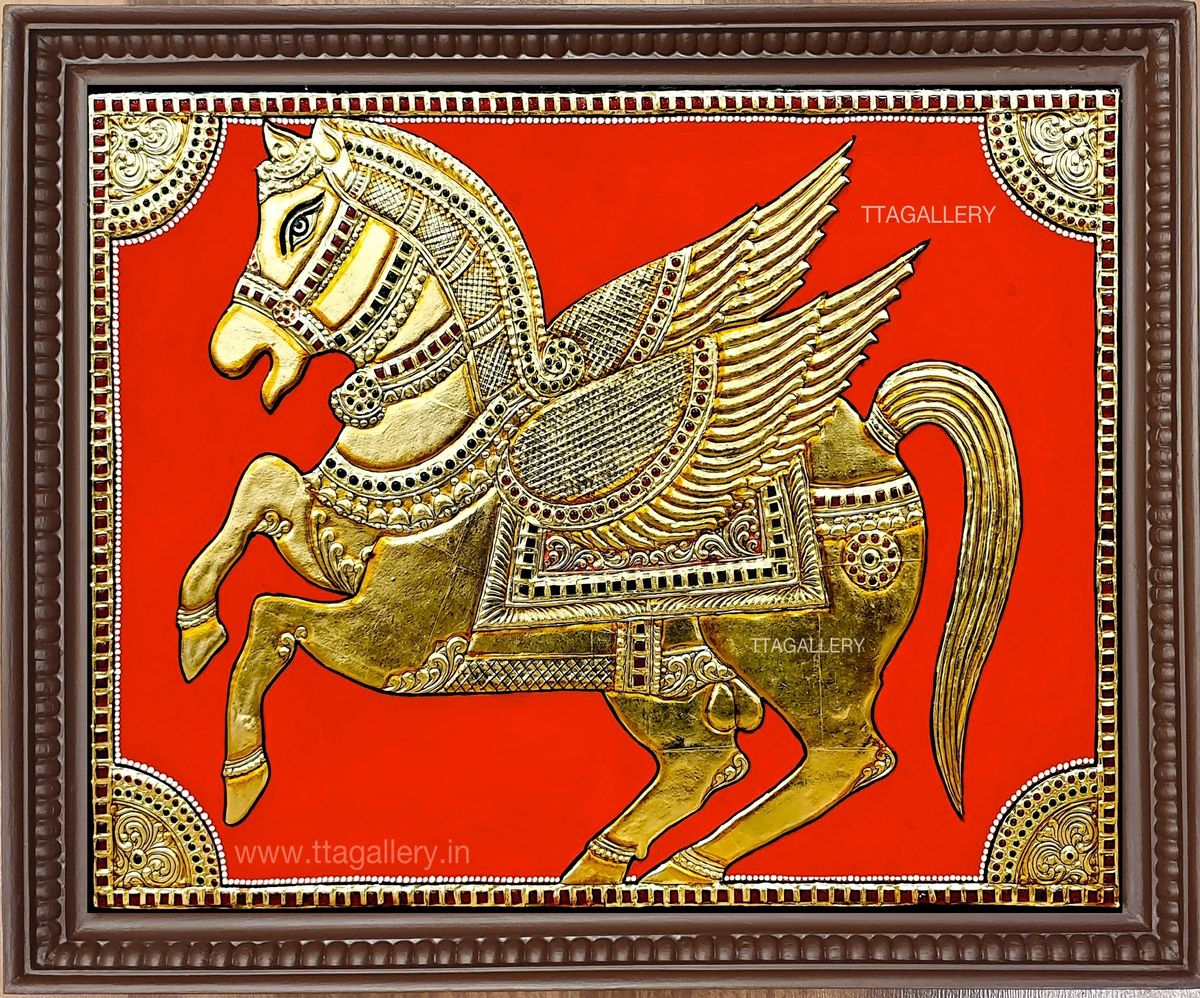 Golden Horse Tanjore Painting