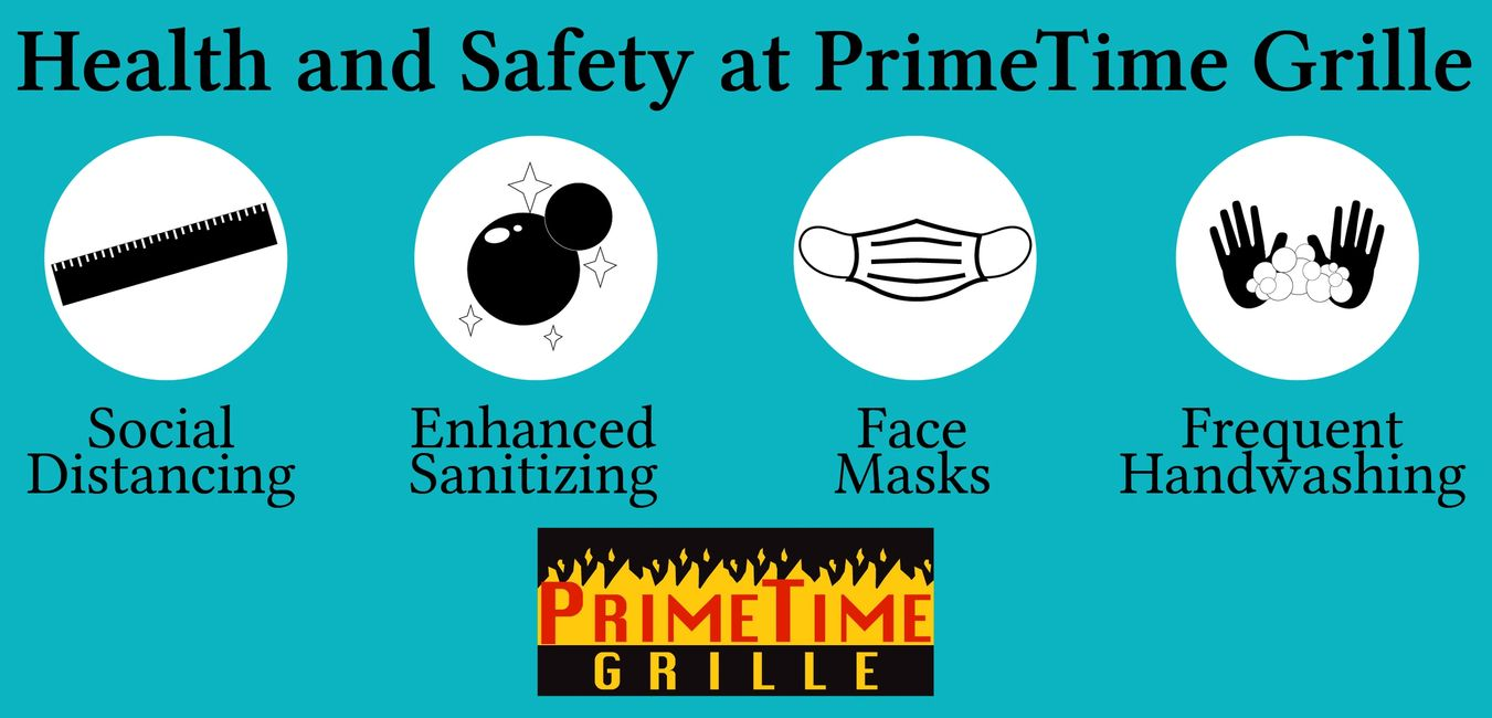 Health and safety at PrimeTime Grille - social distancing, face masks, and cleanliness